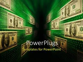 PowerPlugs: PowerPoint template with a lot of dollar notes on the wall