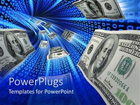 PowerPlugs: PowerPoint template with 100 dollar bills flowing fast through a blue passage