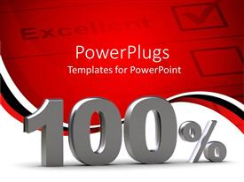 PowerPlugs: PowerPoint template with a 100% performance representation with report in the background