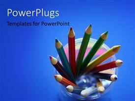 PowerPlugs: PowerPoint template with 12 well arranged pencils over a blue background