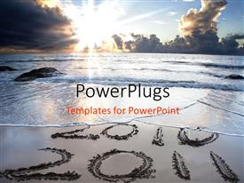 PowerPlugs: PowerPoint template with 2010 and 2011 figures on the shore of a beach