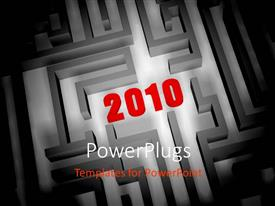 PowerPlugs: PowerPoint template with 2010 in center of labyrinth, with black color