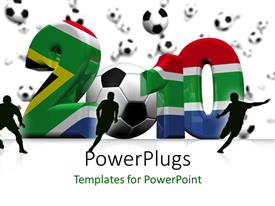 PowerPoint template displaying  2010 figures made of the south african flag and a foot ball