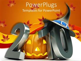 PowerPlugs: PowerPoint template with 2010 with metallic gray numbers and Halloween Jack o' lantern instead of first zero ten with witch's hat