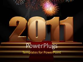 PowerPoint template displaying 2011 on a gold podium, with fireworks