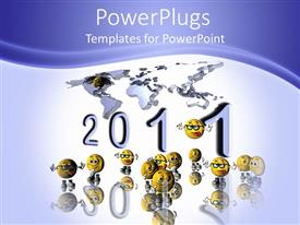 PowerPoint template displaying 2011 under world map surrounded by yellow faces with silly expressions
