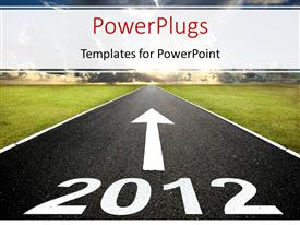 PowerPlugs: PowerPoint template with 2012 road with arrow to sunrise