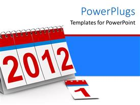 PowerPlugs: PowerPoint template with a small red and white colored table calendar showing the year '2012'