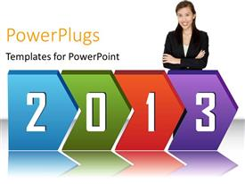 PowerPlugs: PowerPoint template with 2013 in chevrons, with business woman