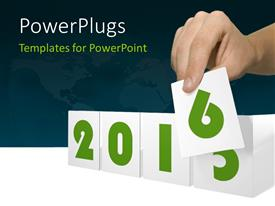 PowerPlugs: PowerPoint template with 2015-2016 change represents the new year 2016 with world map in the background