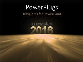 PowerPlugs: PowerPoint template with 2016 - A new start, on the surface of earth with space in the background