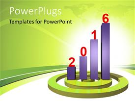 PowerPlugs: PowerPoint template with 2016 growth chart with beautiful curves and map in the background