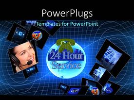 PowerPoint template displaying 24 hour customer support concept, with tech depiction