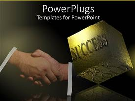 PowerPlugs: PowerPoint template with 24K success cube with successful business handshake