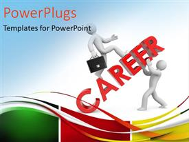PowerPlugs: PowerPoint template with 2 people with the word career and bluish background