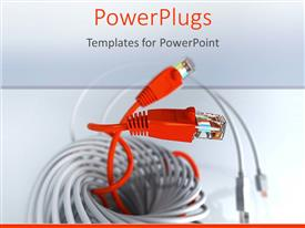 PowerPlugs: PowerPoint template with 2 red network cables together appearing from a bundle of network cables