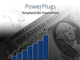 PowerPlugs: PowerPoint template with 2D bar chart with arrow over dollar bills and map