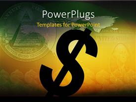 PowerPlugs: PowerPoint template with 2D dollar sign with dollar bill blurred in background