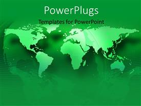 PowerPoint template displaying a 2D world map on a green colored background