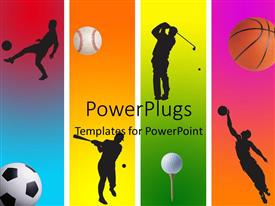 PowerPlugs: PowerPoint template with 3 football golf baseball and basketball in graphic style
