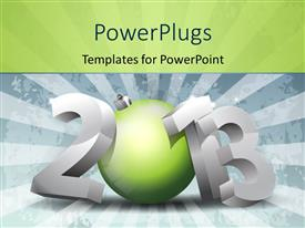 PowerPoint template displaying 3D 2013 text with beautiful green ornament representing number zero