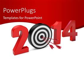 PowerPlugs: PowerPoint template with 3D 2014 0n white background with red dart hitting bulls eye of target