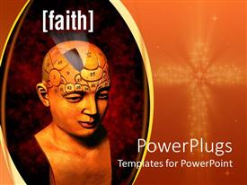 PowerPlugs: PowerPoint template with 3D abstract bust of human head with numbered areas of the head and faith word highlighted from a part of the brain, lighted cross