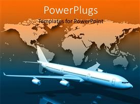 PowerPoint template displaying a 3D airplane flying with a world map background