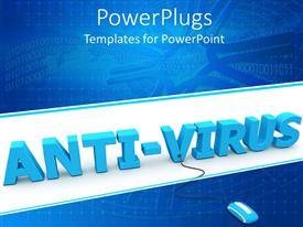 PowerPlugs: PowerPoint template with 3D anti-virus word with mouse connected to v letter and binary codes on network blue background