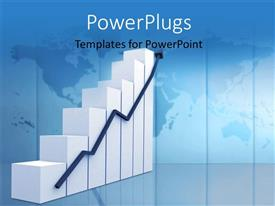 PowerPlugs: PowerPoint template with a 3D bar chart and an arrow on a blue background