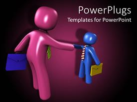 PowerPlugs: PowerPoint template with 3D big purple and small blue figures shaking hands holding suitcases
