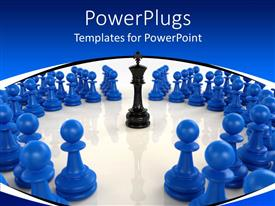 PowerPlugs: PowerPoint template with 3D black chess king piece encircled by blue pawns, 3D chess pieces with king and pawns representing the idea of leadership