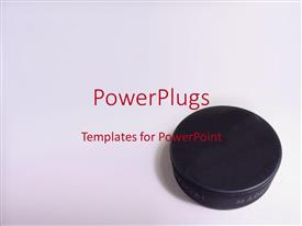 PowerPlugs: PowerPoint template with 3D black hockey puck on brightly colored gray background