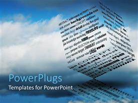 PowerPlugs: PowerPoint template with 3D block made up words related to thinking and information, blue sky background