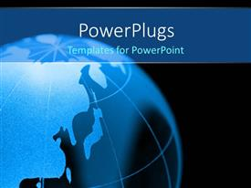 PowerPlugs: PowerPoint template with 3D blue color globe, with black color
