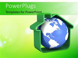 PowerPlugs: PowerPoint template with 3D blue colored globe in a green colored house model with nice nature green background