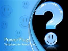 PowerPlugs: PowerPoint template with 3D blue question mark with smiley face as dot on black background and smiley faces on blue background