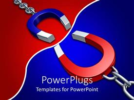 PowerPoint template displaying 3D blue and red attracting horseshoe shaped magnets on opposite colored background