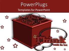 PowerPlugs: PowerPoint template with 3D box with word 'Think' coming out of the box