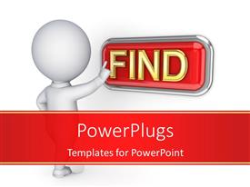 PowerPlugs: PowerPoint template with 3D business person pushing Find button with white color