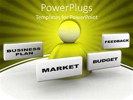 PowerPlugs: PowerPoint template with 3D bust surrounded by white frames displaying business plan, market, budget and feedback words on sunrays yellow and green background