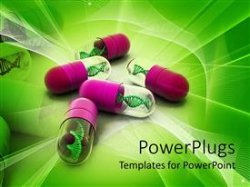 PowerPlugs: PowerPoint template with 3D capsules pink and transparent with DNA strands inside on green abstract background