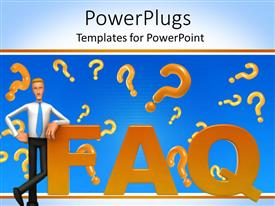 PPT layouts consisting of 3D cartoon figure standing against the F letter in word FAQ with orange question marks on blue background