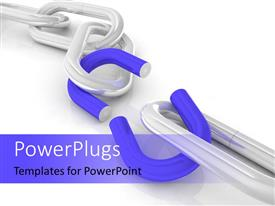 PowerPlugs: PowerPoint template with a 3D chain broken in the middle illustrating a weak link