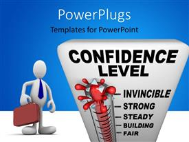 PowerPlugs: PowerPoint template with a 3D character with a burst thermometer spelling out the text 'confidence level'