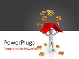 PowerPlugs: PowerPoint template with a 3D character carrying up a red roof with lots of % symbols