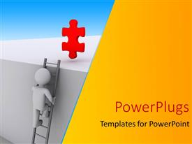 PowerPoint template displaying a 3D character climbing a ladder to  red puzzle piece