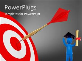 PowerPlugs: PowerPoint template with a 3D character and a dart on a dart board