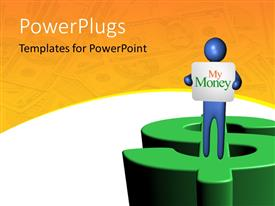 PowerPlugs: PowerPoint template with a 3D character holding a paper and standing on a dollar bill