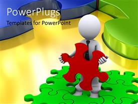 PowerPlugs: PowerPoint template with a 3D character holding a red puzzle piece over green puzzles